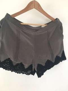 Club Monaco grey silk shorts sz 6