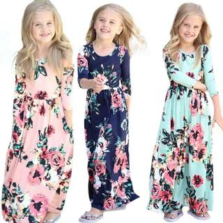 [PRE-ORDER] NEW KIDS GIRLS CHILD CASUAL LONG SLEEVE CREW NECK BEACH BOHO LONG MAXI DRESS