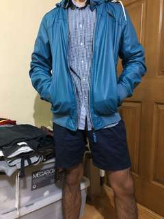 Pull&Bear Blue Leather Jacket with Hoodie
