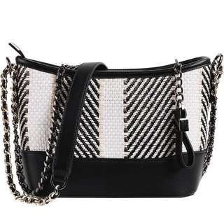 Premium Quality Raffia Sling Bag with Chain