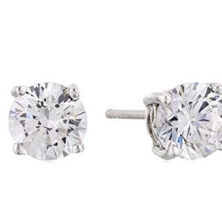 Brand New Authentic Platinum-Plated Sterling Silver Round-Cut Swarovski Zirconia Stud Earrings (2 cttw)(80%OFF)