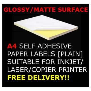 🚚 [MATTE/GLOSSY SURFACE] A4 Self Adhesive Sticker Paper for Inkjet/Laser/Copier printing labels