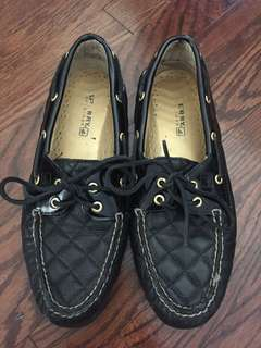 Black Quilted Sperry's- women's size 9