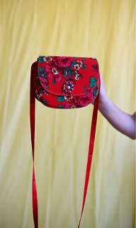 Vibrant Red Floral Cross Body Bag