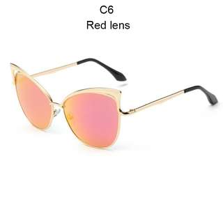 Cat Eye Women's Sunglasses Shades Metal Frame