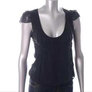 Rock & Republic Silk Chiffon Black Top Size 4