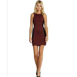 BCBG Generation Faux Leather Detail Maroon Dress Size Small
