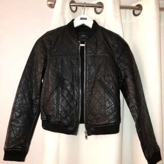 Zara black leather bomber xsmall
