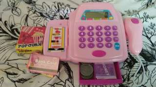Cash register with real calculator
