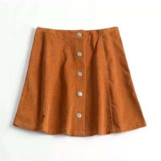 AA Brown Suede Button Down Skirt