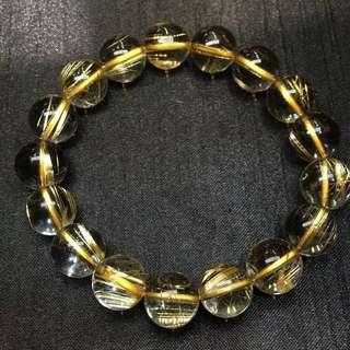 天然玻璃體鈦晶招財手珠