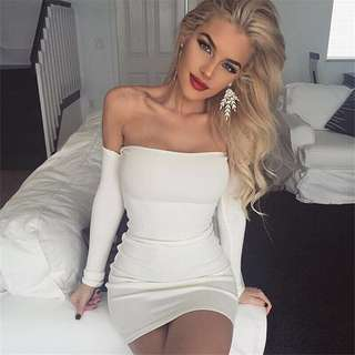 White Off Shoulder Bodycon Dress