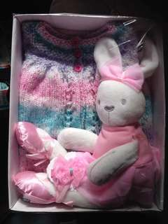 Hand knitted matinee jacket , hair clip an plush bunny 3-6 mths