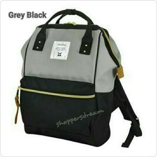 Instock 💯 Grey Black Authentic Anello Canvas Backpack
