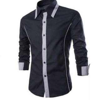 Pakaian pria kemeja kerja slim fit hitam lis abu abu