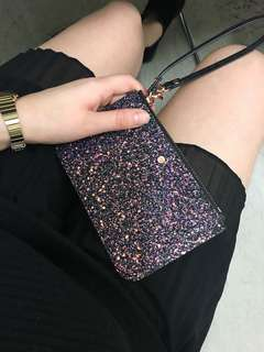 Glitter/black Mimco S pouch with duster bag
