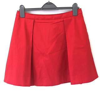 Kate Spade Saturday Red Deep Pleated Skirt - Size 8