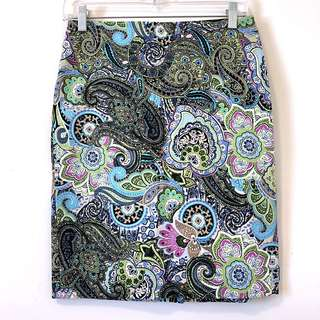TALBOTS Women Pencil Straight Skirt Stretch Paisley Pink Blue Lined Size 2P $89