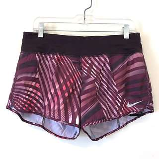 New Nike Women Purple Abstract Print Running Shorts Size Large