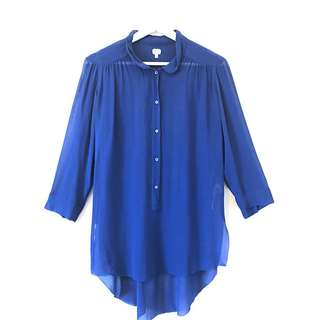 Wilfred 100% Silk Royal Blue Sheer Blouse. Size Small