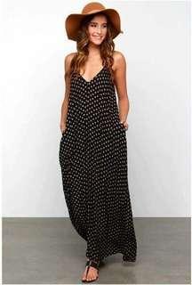 Polka Dots Chiffon Maxi Dress