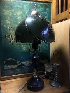 早期玻璃燈 大理石座 雙燈頭