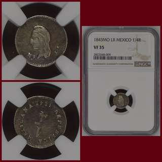 1843MO LR MEXICO 1/4 REAL - NGC VF35