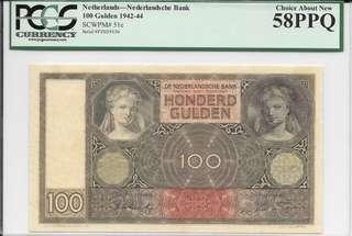 1942 Netherlands 100 Gulden - PCGS 58PPQ