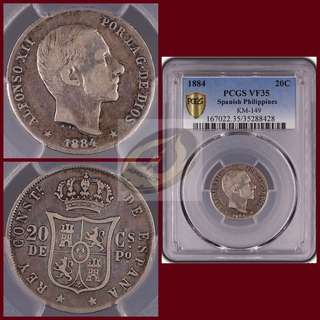 1884 Spanish-Philippines 20C - PCGS VF35