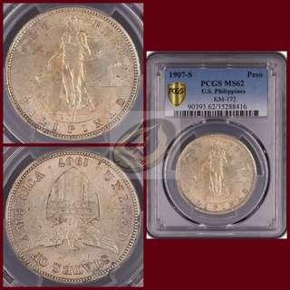 1907-S US-Philippines Peso - PCGS MS62