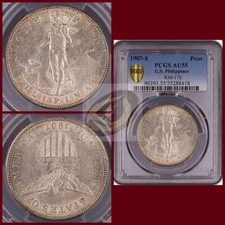 1907-S US-Philippines Peso - PCGS AU55