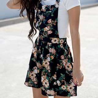 F21 Floral Print Overall Dress