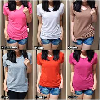 Kaos Basic Vneck/kaos polos/blouse/t-shirt/pakaian wanita