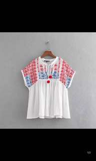 Europe and the United States women's new two-color embroidery shirt