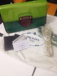 Authentic Prada patent leather clutch with 2 straps