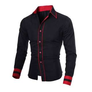 Pakaian Pria Kemeja slim fit hitam/putih/biru/abuabu
