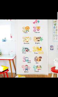 🎉New Arrival Kindergarten creative cute cartoon fun animal number English environmental protection removable background decorative wall stickers diy home decor