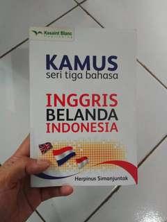 Kamus dictionary buku tiga bahasa inggris belanda indonesia