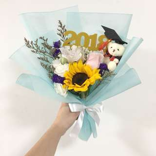 Graduation Sunflower Bouquet with Mix Fillers and Limited Edition Topper with Grad Bear