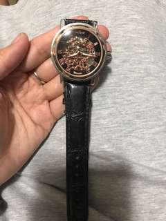 黑金羅馬數字手動上鏈錶
