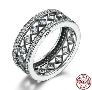 [SALES]💎VINTAGE AUTHENTIC 925 STERLING SILVER SQUARE CLEAR CZ WOMEN RING FASHION JEWELRY WEDDING|ENGAGEMENT ANNIVERSARY GIFT💎