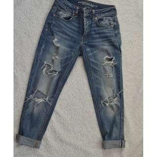 American Eagle Ripped Boyfriend Jeans - 00