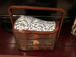 Old Chinese blue/white Tile Lacquer  Bento Lunch Box