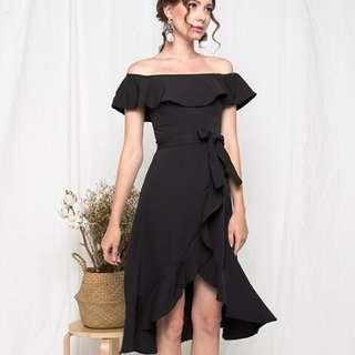 [PO] Ritz and Ruffle Off Shoulder Midi Dress in Black
