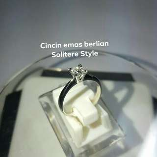 Cincin Emas Berlian Solitere Simple Style.