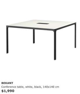 White conference table desk