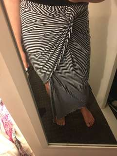 Knotted stripe skirt