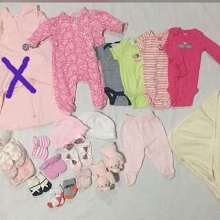Take all for baby girl newborn to 3m preloved & bnew atuff
