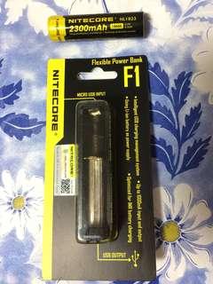 Nitecore F1 Charger + Nitecore NL1823 18650 Battery
