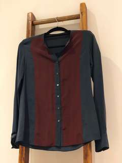 Silk blouse, color block style - size small